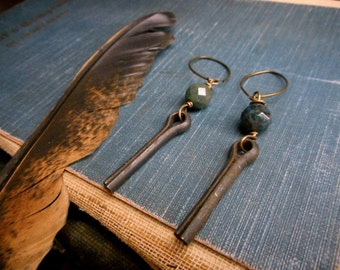 The Tinker. Rustic Upcycled Cotter Pins & Green Agate grunge earrings