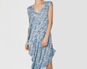 NEW SUMMER 2016!!! Thiin Stripes blue shirt, oversize asymmetric t-shirt pleats one side sleeveless extravagant top mini dress stylish tunic