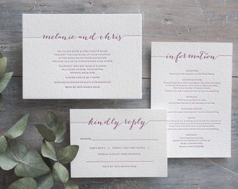 Modern Calligraphy Letterpress Wedding Invitation - Style A SAMPLE