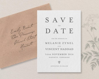 Literary Letterpress Save the Date. Haworth sample