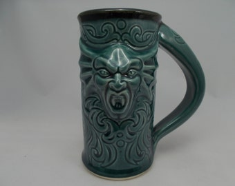 Vampyre Beer Stein Featuring a Vampire Gargoyle and Tribal Carvings, Teal Glaze, Dinnerware, Home Bar Drinkware, Festival Mug, Fantasy Art