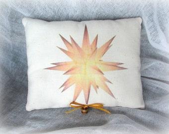 Moravian Star Mini Pillow   Holiday Star   Star Accent Pillow   Golden Star