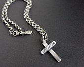 Men's Hammered Cross Necklace, Sterling Silver Oval Rolo Chain
