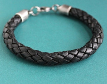 Mens Thick Leather Bracelet, Black Braid Leather Bracelet, Sterling SIlver