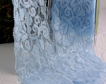 """Blue Stretch Lace, Floral Stretch Lace Ribbon, Wide Lace Ribbon, 2.5"""" wide, Lace Garters, Baby Headbands, DIY Wedding, Gift Wrapping"""