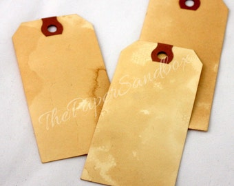 """25 Tea Stained Tags, 4 1/4"""" x 2 1/8"""", DIY Wedding, Printable Tags, Wish Tree Tags, Gift Tags, Bookmarks, Christmas Tags, Gift Wrapping"""