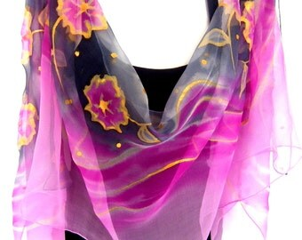 Silk Scarf, Hand Painted Silk Scarf, Pink Gray Gold, Floral Chiffon Silk Scarf
