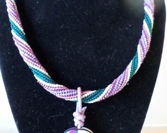 Kazuri Love Bead Tubular Herringbone Beaded Necklace