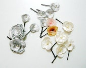 Silver hair Pins, Silver grey flower hairpins, grey hair pins, metalic fabric flower, set of 3 mini grey hair pins
