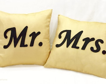 2 Pieces Set. Mr Mrs Light Gold And Black Pillow Covers Set. Hand Cut Text. Shimmer Gold Wedding Gift Couples Gift. Cushion Covers Set