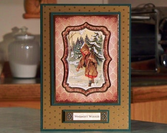 """Handmade Vintage Style Christmas Card - 5"""" x 7"""" - Features a Little Girl Carrying Small Tree & Delivering Warmest Wishes"""