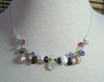 Mixed Gemstone Necklace, Everyday Wear Necklace, Tourmaline, Moonstone, Pearls, Amethyst, Aquamarine, Topaz with Sterling Silver Chain