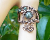 Moss Agate ring size 9 ring copper wire ring boho rings bohemian rings wire wrapped jewelry Moss agate jewelry wire wrap rings tribal ring