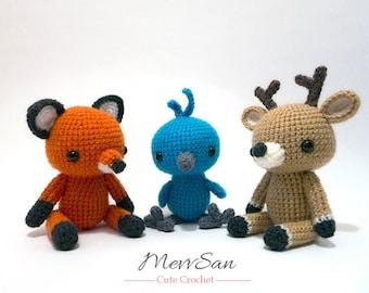 Crochet Woodland Critters PATTERN BUNDLE 2 - Amigurumi Fox, Bluebird, Deer Plush Dolls
