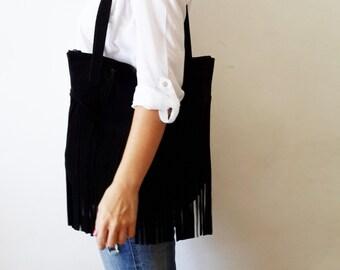 Fringes suede BLACK Leather tote bag - Shoulder Bag -Every day leather bag - Women bag