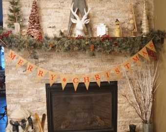Christmas burlap banner, merry christmas pennant banner, christmas banner, white snowflakes, winter decor, chirstmas decoration,