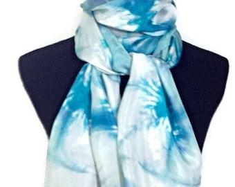 BlueGreen and Aqua Hand Dyed Silk Scarf 14x72 in * 35.56x182.88 cm Habotai
