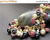 VALENTINE SALE Gemstone Bracelet. Pearl Bracelet. Charm Bracelet in Garnet, Pink Rhodonite and Pearl. Artisan Jewelry.