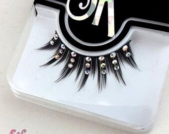 CLEARANCE Luxe Fringe AB Crystal Rhinestone False Eyelashes - SugarKitty Couture