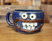 Large Soup Mug Bowl with Handle. 20 Ounces Funny Face Mugs. Bright Blue. Handmade Stoneware Pottery. Cereal Soup Chili Bowls. Ug Chug