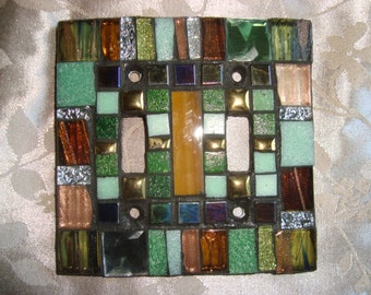 MOSAIC LIGHT SWITCH Plate Cover - Double, Earth Tones,  Multicolor, Wall Art, Boho