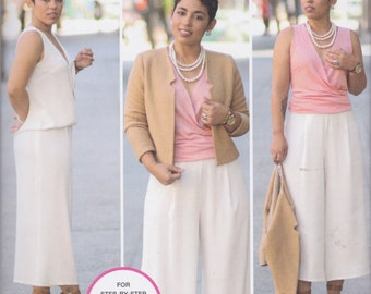 Simplicity Pattern 8093 Mimi G Style Lined Cardigan Jacket, Sleeveless Blouse Has Draped Bodice, Wide Leg Cropped Pants Misses' Sizes 6 - 14