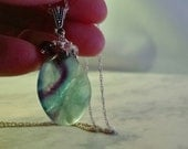 Fluorite Tumbled Stone Pendant, Sterling Silver Chain, Therapeutic Gemstones