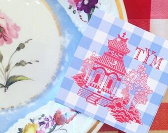 Gingham pagoda gift tags