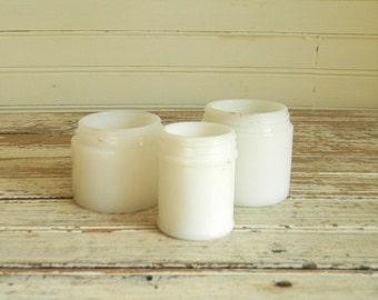 Vintage Milk Glass Jar, Cosmetic Jars, Small Milk Glass Jars, Lot of Three Milk Glass Jars, 1950s Cold Cream Jars, White Glass Jars, Vintage