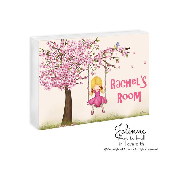 kids personalized gifts, door sign, cherry blossom, art for girls room, nursery door sign, pink room sign, custom name sign, personalized