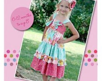 Create Kids Couture Aubrey's Tiered Ruffle Knot Dress with Fabric Flower Bonus! – New – Uncut Paper Pattern