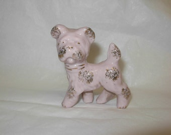 Little Pink Pastel Dog with Gold Flecks