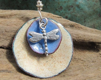 Handmade Enamel Dragonfly Jewelry Copper Pendant