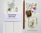 Perpetual Calendar - Birthday calendar - flowers and birds illustration