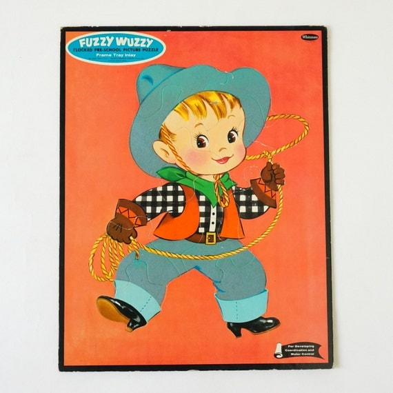 Vintage 1960s Toy Puzzle / WHITMAN Little Cowboy Fuzzy Wuzzy Flocked Picture Puzzle / Country Western Rodeo Cowboy, Childs Room Decor