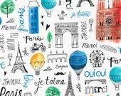 Paris Adventure Kaufman Fabric Monuments Sacre Coeur Eiffel Towel Ferris Wheel Notre Dame French Word Script
