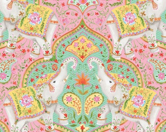 Season of Love Fabric Elephants and Paisley Detailed Motif from India Elephant on Pink