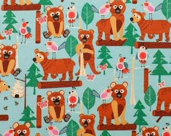 Novelty Fabric from Alexander Henry Bearly There Bear in Forest with Logs on Aqua Blue