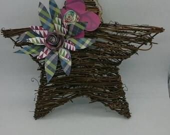 Handmade Flowers on Twig Spun Stars