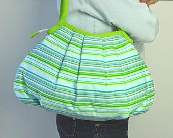 SALE... Shoulder Bag - Granny Style Lime Stripes - Zipper Closure