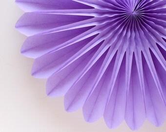 """18"""" Lavender Flower Fan, Lavender Honeycomb Fan, Lavender Tissue Paper Fan, Baby Shower"""
