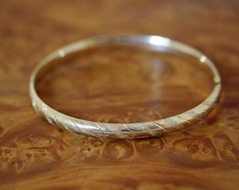 14k Gold Bangle Etched Expandable