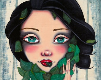 Never Enough Nature Original Oil painting Pop Surreal Illustration 8x10, framed 9x11