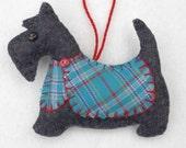Scottie dog Christmas ornament, Felt dog ornament, Scottie dog decoration, Dog Christmas Ornament, Handmade Scottish terrier, tartan. Dougal
