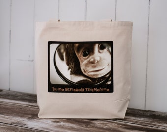 Monkey - School Bag - Canvas Bag -  CUSTOMIZABLE - HBO's Family Tree- Natural or Black Canvas Bag - Carryall Tote
