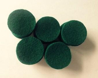 "50 EMERALD 1&1/2"" wool penny rug circles"