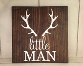 Little Man Antlers Deer Wood Sign Rustic Farmhouse Fixer Upper Nursery Kids Room Wall Decor Hunting Buddy Cabin