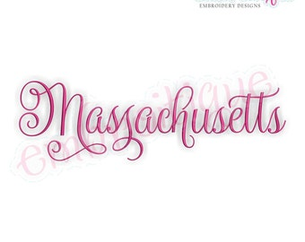 Massachusetts Calligraphy Fancy Script 3  - Instant Download Machine embroidery design