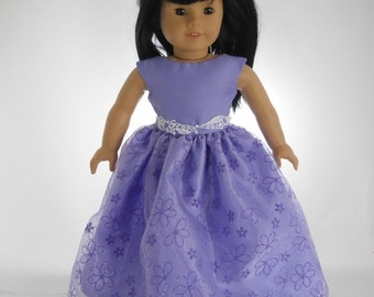 18 inch doll clothes made to fit dolls such as American Girl®, Lavender Flower Party Dress, 03-0986