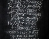 Chalkboard Print - Digital File 8x10 - 12 Days of Christmas